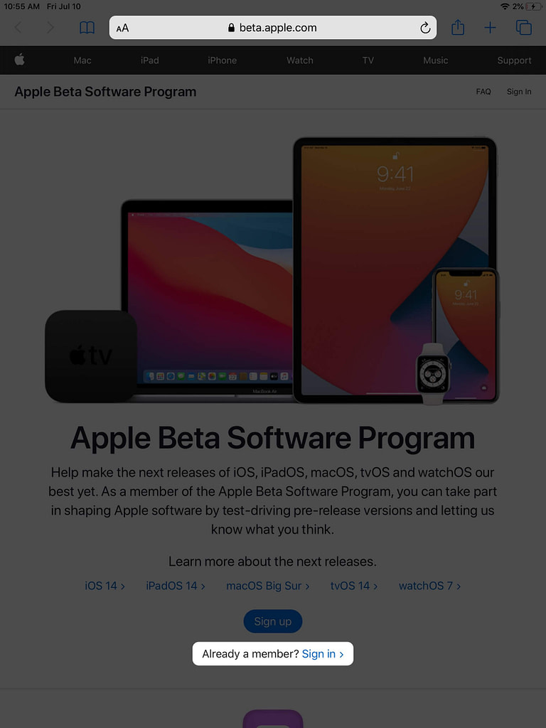 visit beta apple com and tap on sign in on ipad